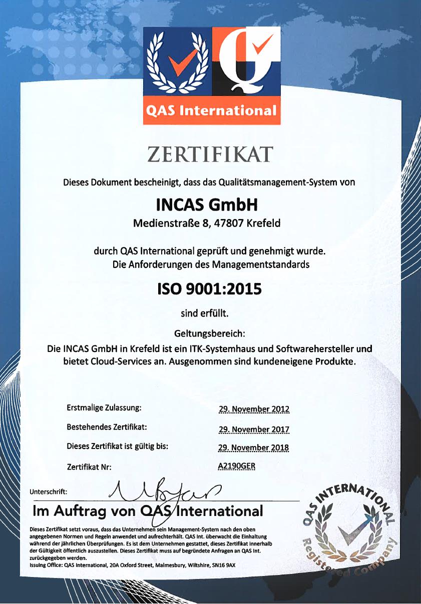 ISO 9001 Zertifikat INCAS IT-Systemhaus Krefeld
